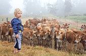 a Toddler exploring the farm.