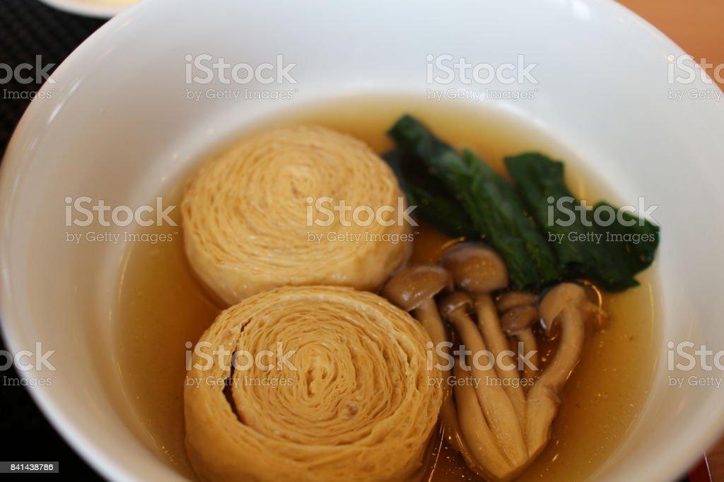 a Tofu skin in  a bowl stock photo