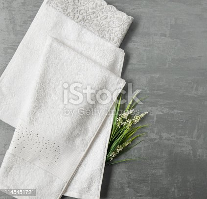 1164403347 istock photo a towel on gray background 1145451721