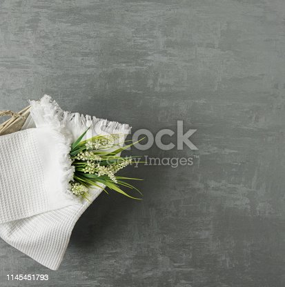 1164403347 istock photo a towel on gray background 1145451793