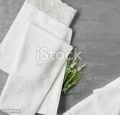 1164403347 istock photo a towel on gray background 1145451976