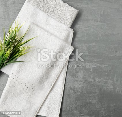 1164403347 istock photo a towel on gray background 1145452011