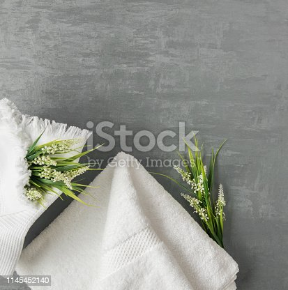 1164403347 istock photo a towel on gray background 1145452140