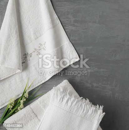 1164403347 istock photo a towel on gray background 1145452364