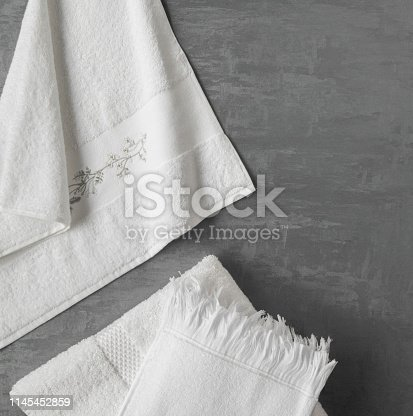1164403347 istock photo a towel on gray background 1145452859