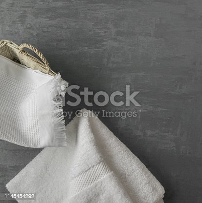 1164403347 istock photo a towel on gray background 1145454292