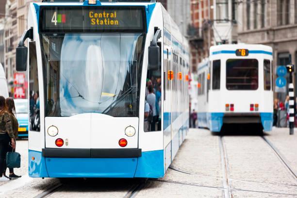 a tram in Amsterdam stock photo