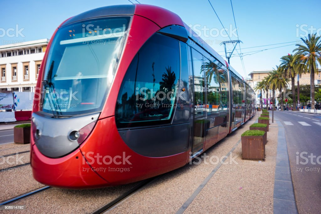 a tram passing in the streets of Casablanca , Morocco stock photo