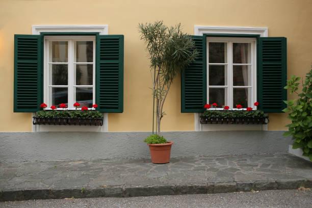 una típica ventana austríaca con verdes shuters persianas y ventanas cuadrada con flores en macetas de colgar - foto de stock