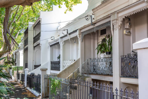a typical terrace house in Sydney Australia stock photo