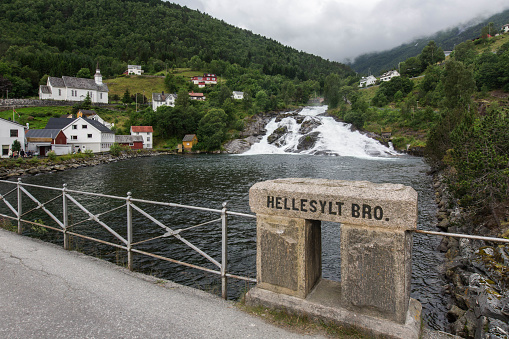 a view from a bridg to Hellesylt Waterfall  Norway, cloudy day