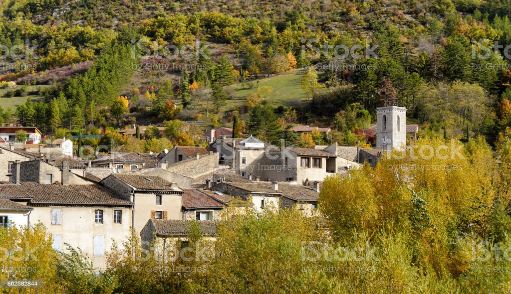 a view of small village in the south of France, in autumn stock photo