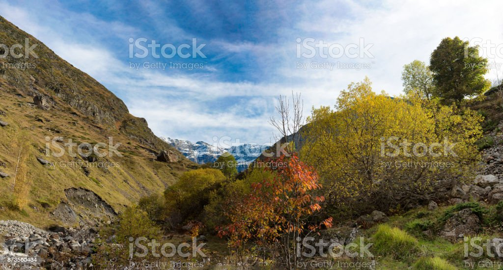 a view of the cirque of Troumouse in the Pyrenees mountains stock photo
