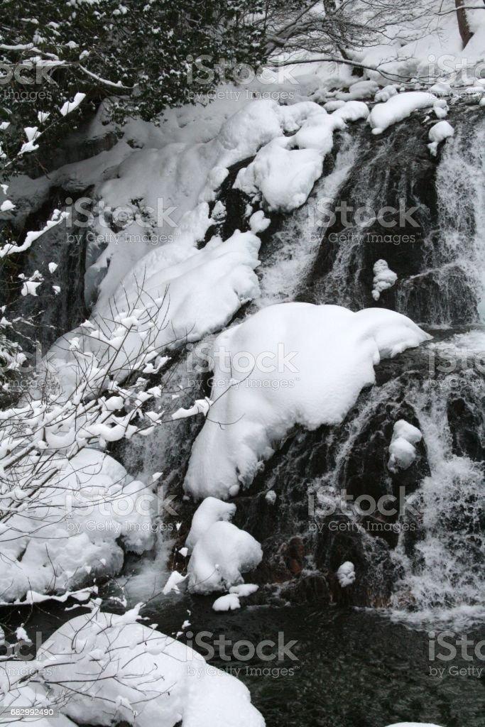 a waterfalla in midwinter foto de stock royalty-free