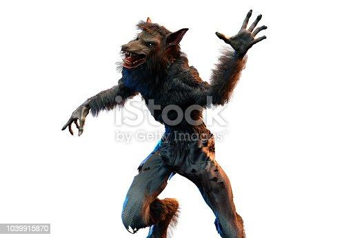 a werewolf on white background 3D render