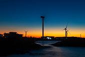 제주 풍력 발전소 일몰