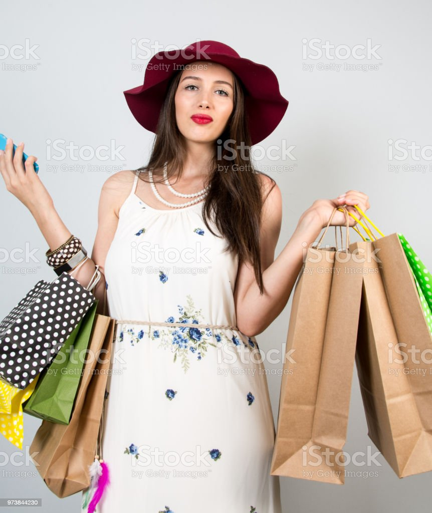 a women is in the shopping stock photo