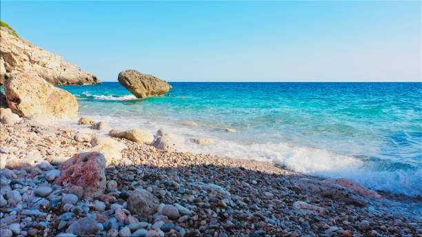 a wonderful lonely beach on the balearic island Mallorca, Calo des Grells, Spain stock photo
