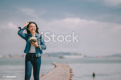 a young Asian Chinese girl tourist in penang, malaysia , south east Asia