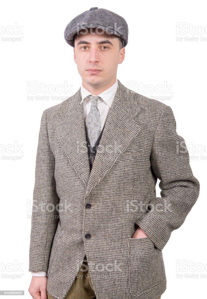 Ein Junger Mann In Vintagekleidung Mit Hut 1930stil Stock Fotografie