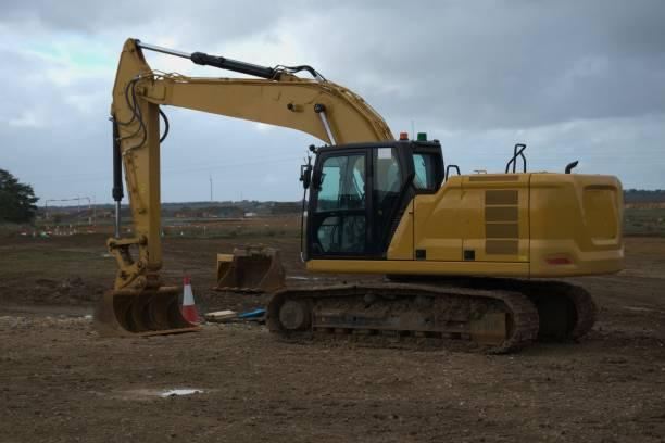 A14 uppgradering uk konstruktion fordon bildbanksfoto