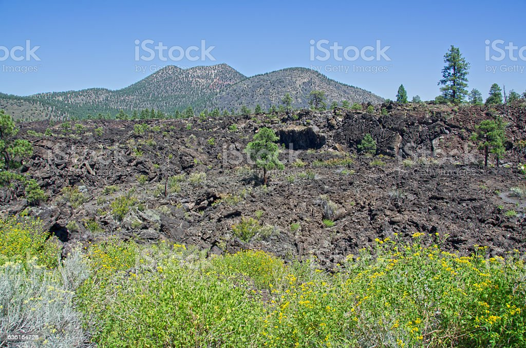 Aa Lava Flows at Sunset Crater Volcano National Monumen stock photo