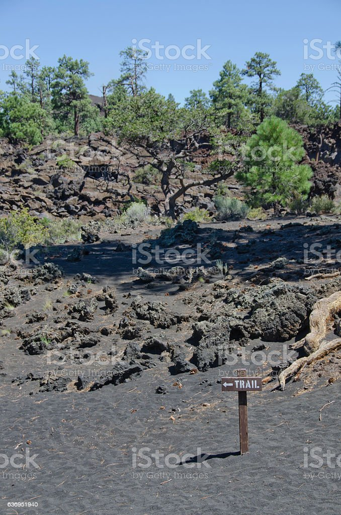 Aa Lava Flows Hiking Trail at Sunset Crater Volcano stock photo