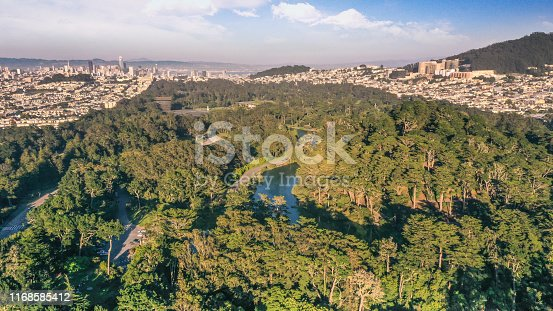 An aerial view above Golden Gate Park looking across the tall trees all the way to the Financial District and twin Peaks. A pamoramic view of the park and city of San Francisco on a summer day.