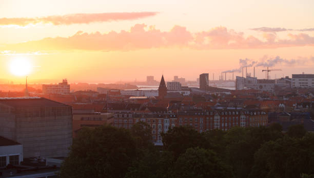Aalborg at sunrise stock photo