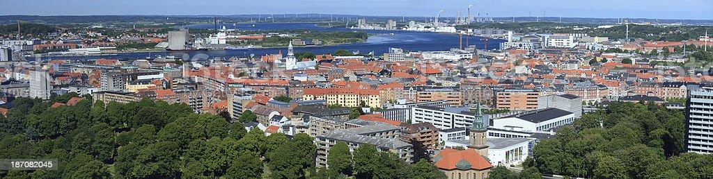 Aalborg panorama, Denmark stock photo