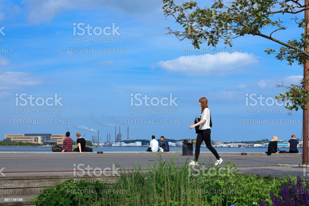 Aalborg waterfront stock photo