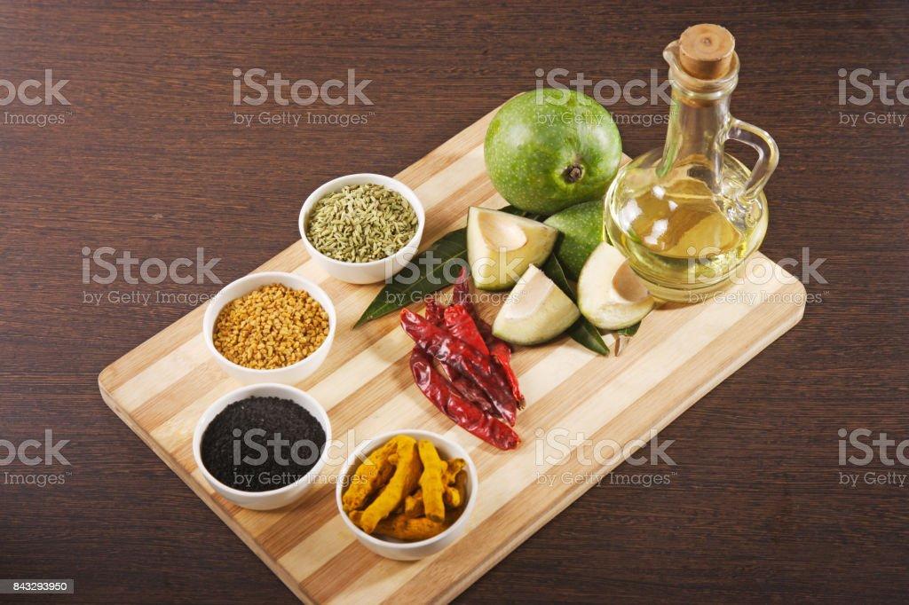 Aam ka achaar masala or mango pickle recipe ingredients indian food aam ka achaar masala or mango pickle recipe ingredients indian food royalty free stock forumfinder Image collections
