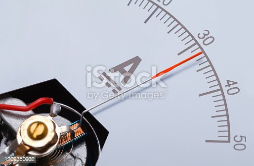 Rectangle Ammeter Amperage Gauge Dial Angle Close Up.
