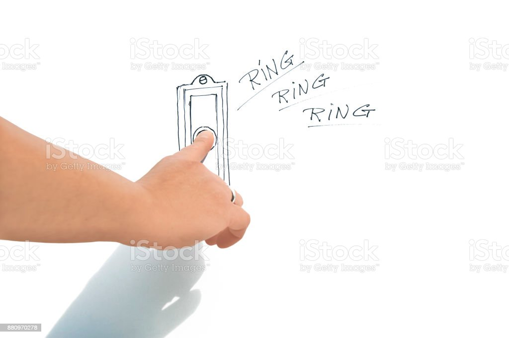 Aanbellen met denkbeeldige bel. stock photo