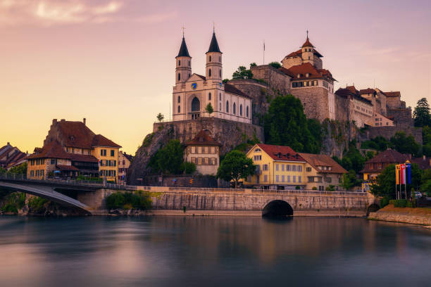 Aarburg Castle and the Aare river in the canton of Aargau, Switzerland stock photo