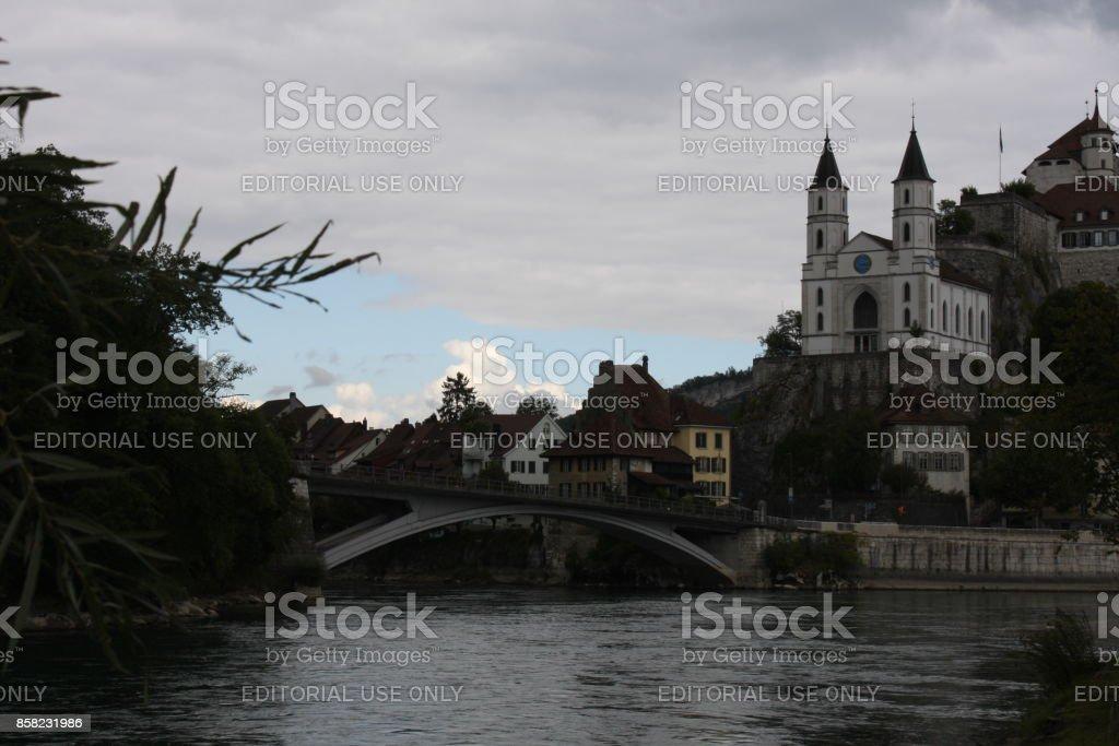 Aarburg Schloss am Fluss Aare in Aarau, Schweiz (große Datei genäht) – Foto