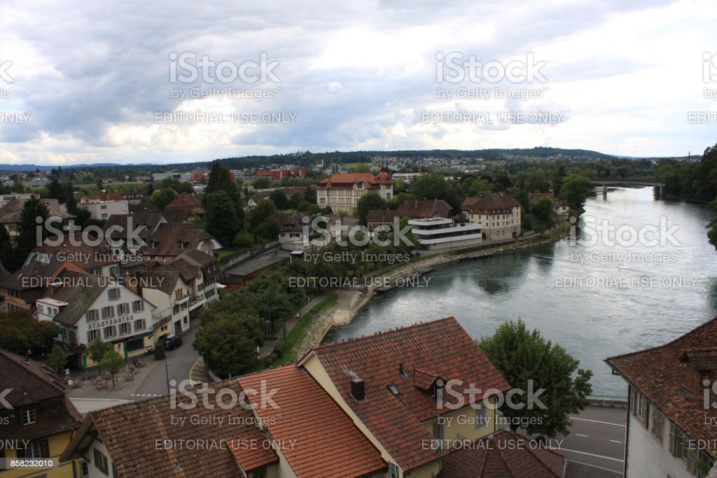 Aarburg Castle on the Aare River in Canton Aarau, Switzerland (large stitched file) stock photo