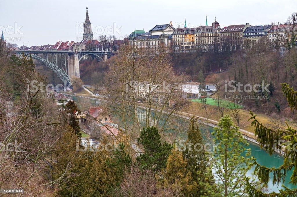 Aare river in Bern, Switzerland stock photo