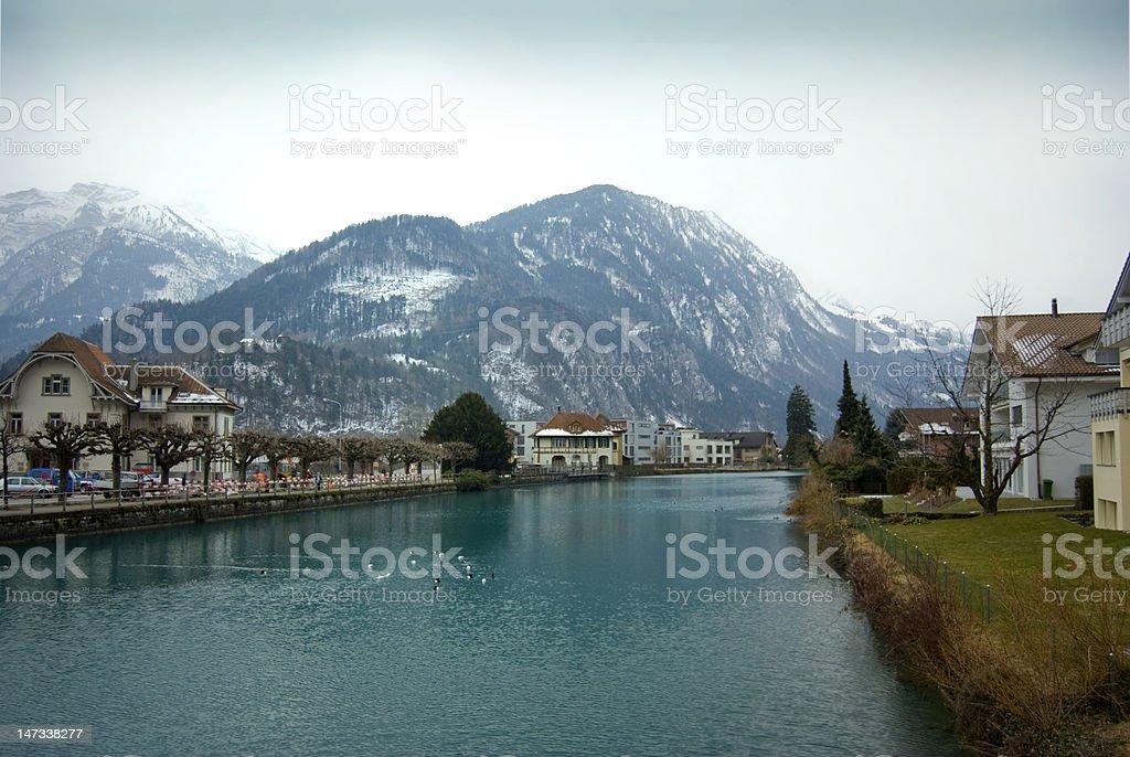 Aare River, Interlaken stock photo