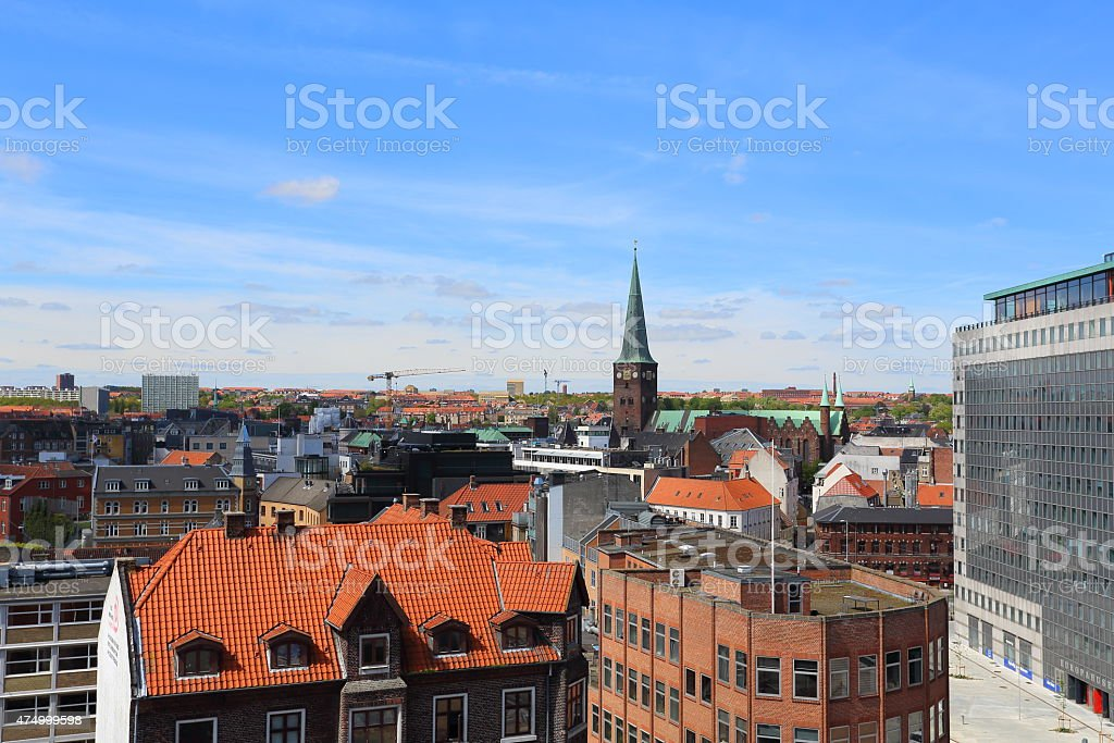 Aarhus Skyline and Sct. Clemens Kirke cathedral stock photo