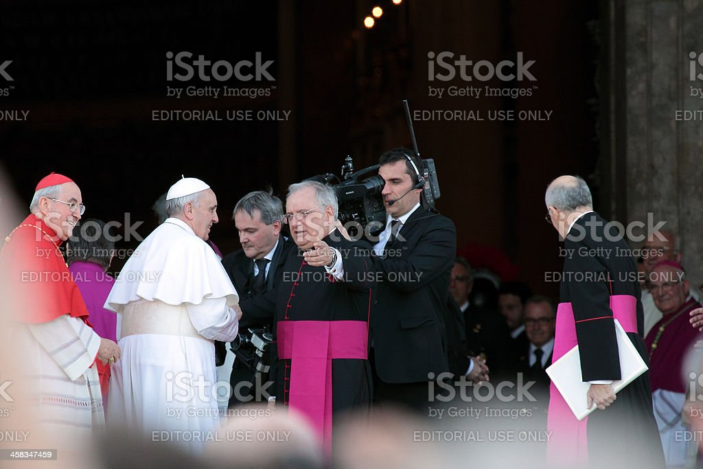 Aarrival of Pope Francis at St. John for the settlement stock photo