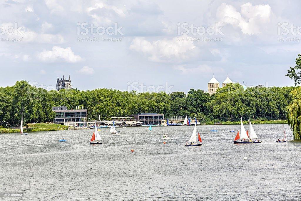 Aasee in Münster / Nordrhein Westfalen stock photo