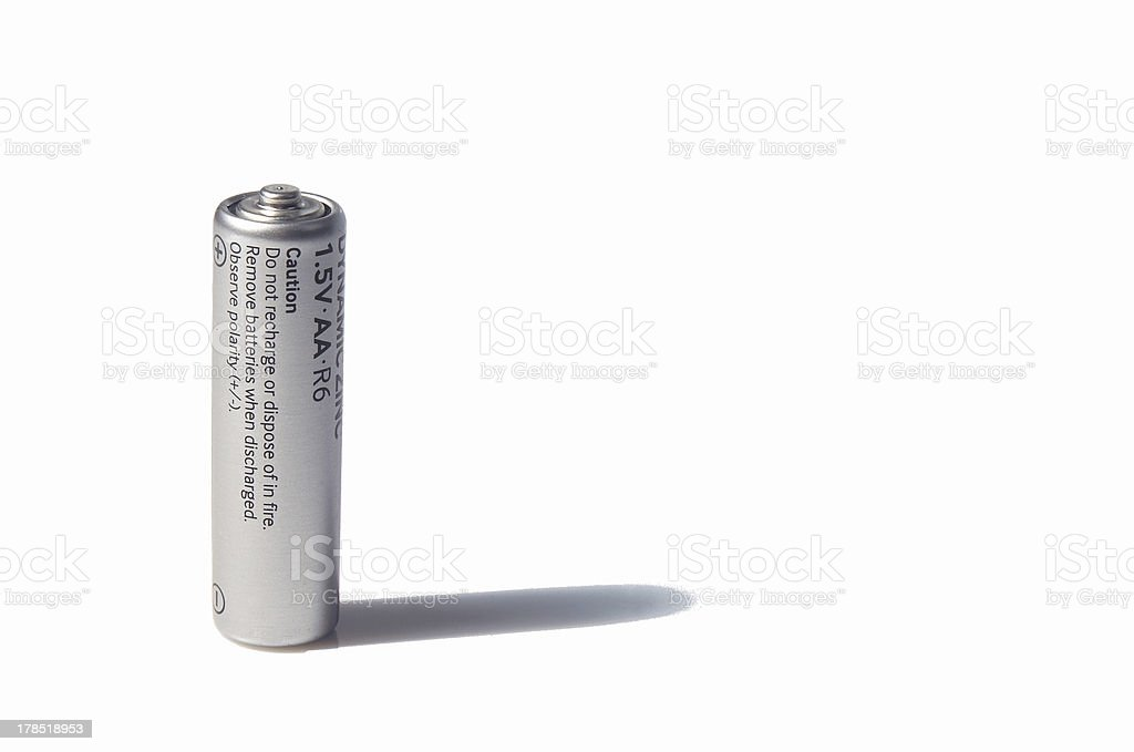 AA-size battery over white stock photo