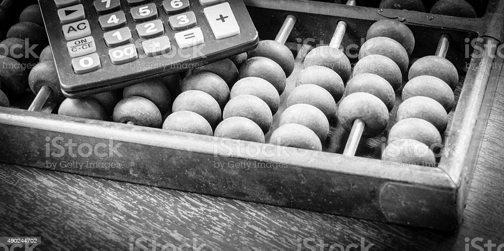Abacus Black and white background stock photo