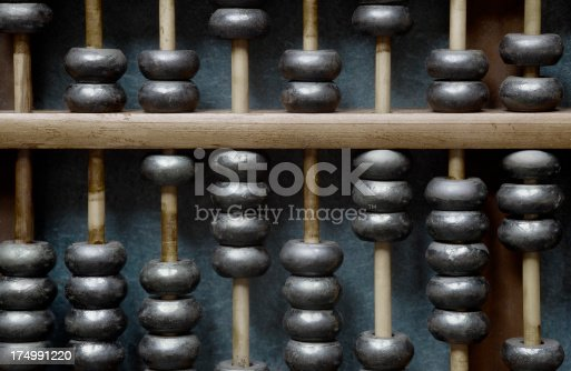 Close up of an abacus or counting machine