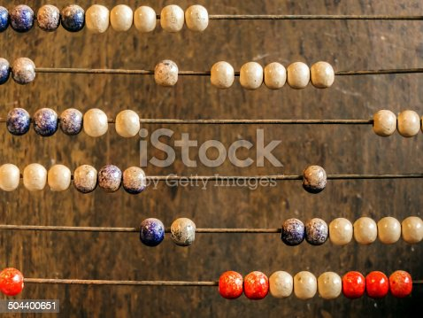 abacus with red, white and blue wooden beads