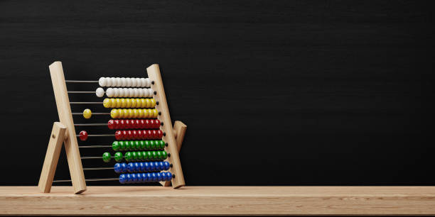 Abacus Standing In Front Of Blackboard Abacus standing in front of blackboard. Horizontal composition with copy space. Great use for back to school concepts. abacus stock pictures, royalty-free photos & images