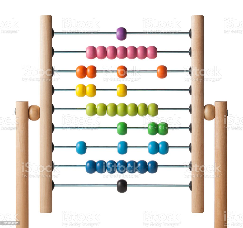 Abacus with colored beads in the shape of dollar symbol stock photo