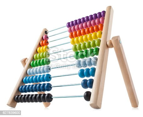 Abacus with colored beads.