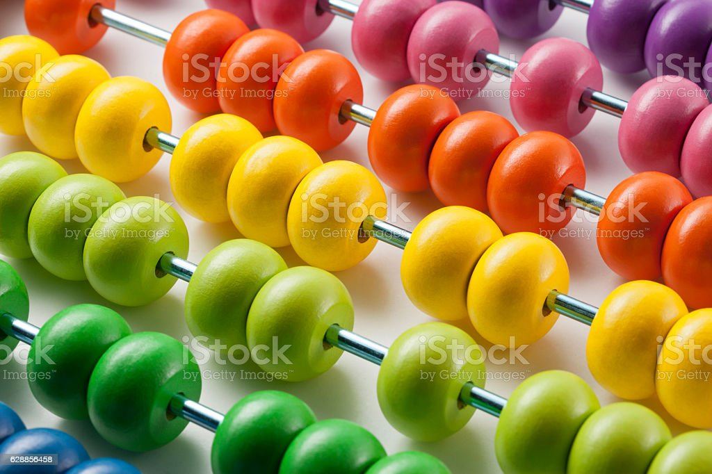 Abacus with colored beads - foto de stock